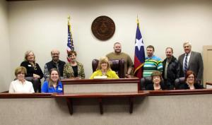 Leadership Class Meets with County Judge Richard Sanders (far right in this picture)